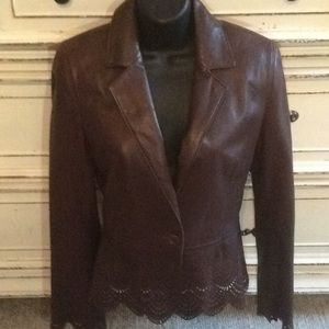 Laundry by Shelli Segal Perforated Leather Jacket